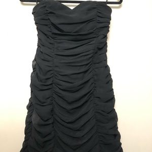 Black Strapless Sweetheart Ruched Minisdress